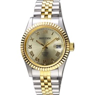 【RHYTHM 麗聲】尊爵羅馬時尚日期手錶-金x雙色/38mm(RQ1611S04)