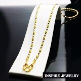 Inspire Jewelry สร้อยคอลายเม็ดอิตาลี 2 กษัติรย์ เม็ดข้าวสารสลับเม็ดกลม  ขนาด 18นิ้ว สวมคอได้ หุ้มทองแท้ 24K   ปราณีต งดงาม  สวยหรู  พร้อมถุงกำมะหยี่