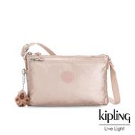 【KIPLING】金屬光玫瑰金雙袋斜背小包-MIKAELA