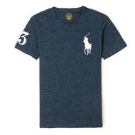 【RALPH LAUREN】Polo Ralph Lauren 經典刺繡大馬素面短袖T恤-深灰色
