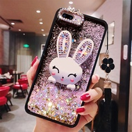 Quicksand Case For OPPO R15 R11S R11 R9 R9S Plus Cute Cartoon shine rabbit Stand back cover