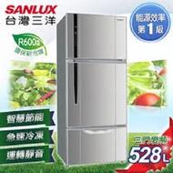 【台灣三洋SANLUX】528公升一級三門直流變頻冰箱/銀色(SR-C528CV1)(原廠公司貨)