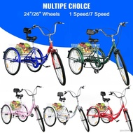 Foldable Tricycle 24'' 26'' Wheels Adult 1-Speed 7-Speed Bike For