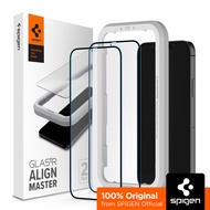 SPIGEN  [Align Master, Full Cover] iPhone 12 / 12 Pro / 12 Pro Max / 12 Mini Screen Protector with Auto-Align Kit Tempered Glass for iPhone 12 Screen Protector / iPhone 12 Pro Glass / iPhone 12 Pro Max Glass / 12 Mini Glass - 2 Pack