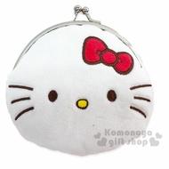 小禮堂 Hello Kitty 絨毛口金零錢包《紅白.大臉》收納包.耳機包