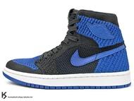 [23.5cm] 2017 HYBRID 經典進化 NIKE AIR JORDAN 1 RETRO HI FLYKNIT BG ROYAL BLUE 大童鞋 女鞋 黑藍 OG 配色 公牛 飛織鞋面 輕量化 AJ HIGH (919702-006) !