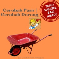 GEROBAK SORONG MERAH/ GEROBAK PASIR/ TROLI COR SEMEN DORONG PROYEK