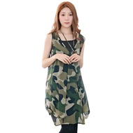 長版上衣--清爽飄逸層次感迷彩無袖兩件式雪紡長上衣(綠XL-4L)-U561眼圈熊中大尺碼中大尺碼