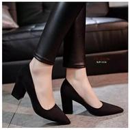 คัชชูหัวแหลมส้นสูงผู้หญิง รองเท้าส้นสูงแฟชั่นขายดี รองเท้าคัชชูส้นสูง 3 นิ้ว สีเทา / สีดำ / สีแดง  F077