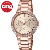 Casio Sheen นาฬิกาข้อมือผู้หญิง SWAROVSKI พิงค์โกลด์ สายสแตนเลส รุ่น SHE-3069PG-9A ของแท้ ประกัน CMG