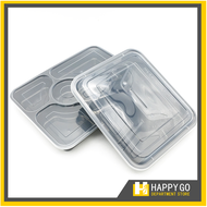 Microwavable Disposable Bento Box / Disposable Food Storage with Clear Lid 3pcs 4 and 5 Divisions