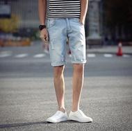 超殺優惠 牛仔短褲 淺色 藍 破壞牛仔短褲   FINDSENSE原廠供應 另提供加大 男 牛仔褲 短褲