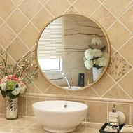 北歐鐵藝壁掛鏡圓形鏡子化妝鏡浴室鏡裝飾鏡掛鏡玄關鏡創意鏡  青木鋪子