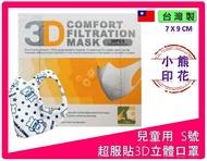 100%台灣製造(全程興業 國家隊) 外銷美國、日本 超服貼3D立體口罩 小熊圖案 薄型 專利彈性無壓力感耳帶 30入/盒 兒童口罩