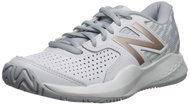 New Balance Women's 696v3 Hard Court Tennis Shoe, White/Rosegold,