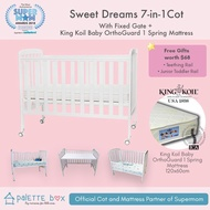 Palette Box Sweet Dreams 7-in-1 Convertible Baby Cot + King Koil Baby Orthoguard 1 Mattress (ETA 20 July)