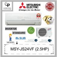MITSUBISHI 2.5HP R32 INVERTER STANDARD AIRCOND - MSY-JS24VF