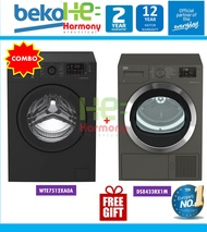 [Package] Beko 7kg Front Load WTE7512XA0A + Beko 8kg Heat Pump Dryer DS8433RX1M ( Mesin Basuh + Pengering Baju Combo Set )