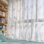 2Color Jacquard Sheer Tulle Curtain For Living Room Bedroom Day Langsir Voile For Sliding Door Treatment Window Curtain