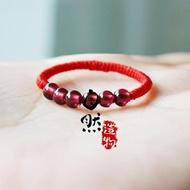 金剛結石榴石戒指編織紅繩辟邪轉運指環尾戒男女情侶飾品禮物
