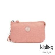 【KIPLING】奶油草莓拿鐵色三夾層配件包-CREATIVITY L