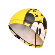 【SPEEDO】兒童合成泳帽PACE-米奇-游泳 戲水 海邊 沙灘 黃黑(SD8113077123)