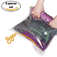"""【Quickly Delivery】【BABY store】New Arrival 8 Travel Storage Bags for Clothes - No Vacuum or Pump Needed  -Reusable Space Saver Packing Sacks (4 items - 28x20"""" 4 items -  24x16"""") - Rolling Compression for Luggage"""