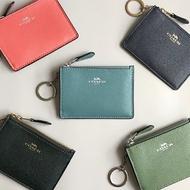 美國百分百【全新真品】 COACH 女款 零錢包 錢包 卡夾 零錢包 小包 證件 鑰匙圈 專櫃 logo 多色 AA73