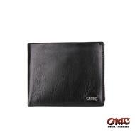 【OMC】義大利進口牛皮精工6卡簡單款零錢男短夾 皮夾 錢夾 錢包 黑色 OMC95415-1