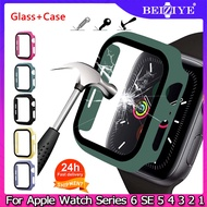 กระจกกันรอย Case + Tempered Glass Film For Apple Watch Series 6 SE 5 4 กระจกนิรภัย Band 40mm 44mm Smart Watch Screen Protector coverage Bumper Case for Series 3 2 1 38mm 42mm กรณี Screen Protector Film GLASS CASE