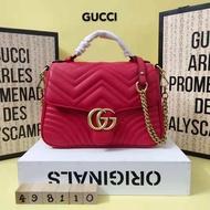 กระเป๋าสะพายขนาดเล็กแท้ / GUCCI GG Marmont กระเป๋าสะพายไหล่หนึ่งถุงถุงหนังวัวเอียงพอดีกับเซ็กซี่พริตตี้หญิงสาว 498110