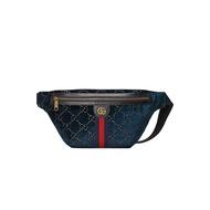 ASCE | Gucci 深藍滿版GG 藍色絲絨腰包