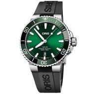 【ORIS 豪利時】Aquis 時間之海潛水300米日期機械錶-綠水鬼/43.5mm(0173377304157-0742464EB)