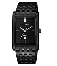CITIZEN 星辰 GENT'S 時尚男錶 方形黑色格紋面盤 黑 BH3005-56E