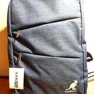 KANGOL 英國袋鼠丹寧藍多功能大容量雙層旅行筆電後背包