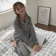 [pajamas]❅◊⊙  Fashion Plaid pajama For Women Loose Long Sleeve Pajamas Korean Cotton Sleepwear Set