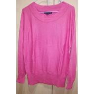 HANG TEN 喀什米爾羊毛衣 薄款 黑色 / 粉紅亮麗 長袖毛衣 女 L / M 含羊毛+喀什米爾羊絨 女 上衣