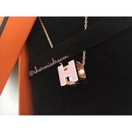 Hermes 愛馬仕 cage 方塊H 項鍊 粉紅 玫瑰金 臺灣專櫃購證正本