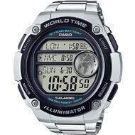 Casio แบตเตอรี่ 10 ปี World Time นาฬิกาข้อมือ สายสแตนเลส ขนาดใหญ่พิเศษ รุ่น AE-3000WD-1A