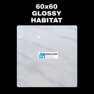 GRANIT LANTAI 60X60 GLOSSY PUTIH MOTF MARMER CARARA