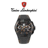 Tonino Lamborghini藍寶堅尼 黑橘卡夢紋三眼計時手錶禮盒(T9GB)