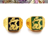 916 gold jade dragon pattern zodiac opening with gem agate ring ring European gold male ring jewelry