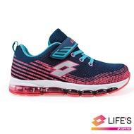 【LOTTO】童 FLY KNIT 氣墊跑鞋(深藍/桃紅-LT9AKR0682)