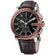 Gucci 古吉YA101202時尚茶金G框計時腕錶/茶面44mm
