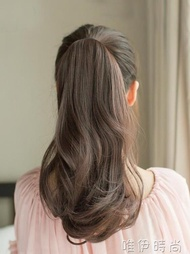 假髮 假髮馬尾 梨花捲馬尾假髮女 捆綁式長捲髮短髮大波浪假馬尾接髮片