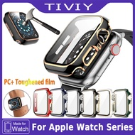 Watch Cover Case ,กระจกนิรภัย + กรณี For Apple Watch 6 SE 40MM/44MM กระจกกันรอย PC Bumper with Glass Protector Film for apple watch series 6 se 5 4 3 2 1 38mm 42mm 40mm 44mm accessories