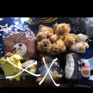 各種大小娃娃 熊大 熊熊 龍貓 草泥馬 小小兵 熊愛你 布丁狗 貓咪