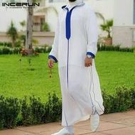 (Muslim) INCERUN Kaftan Bertudung Pria Jubah Kaftan Muslim Lengan Panjang untuk Lelaki