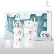 【L.A. Baby】四階段316超輕不鏽鋼保溫奶瓶成長禮盒組270ml 15件組(珍珠白)