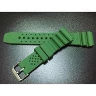 超值高質感20mm蛇腹式矽膠錶帶替代原廠搶錢貴貨citizen,seiko潛水錶帶,綠色標